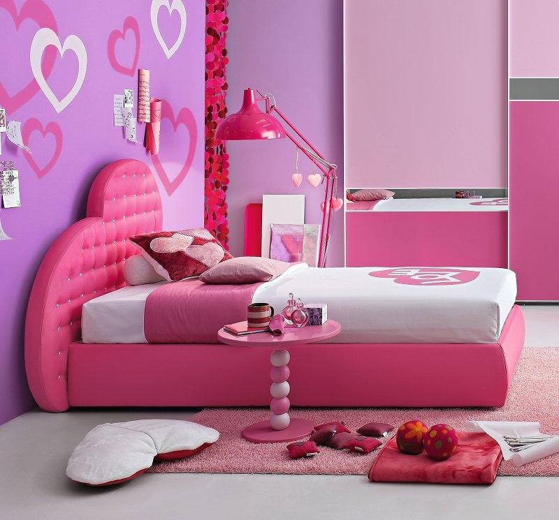 Letto singolo cuore bambina imbottito ecopelle rosa bianco con ...