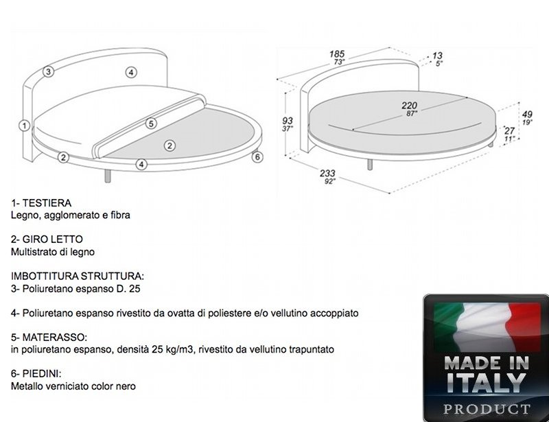 rundes bett ring curvo made in italy 100 mit matratze 220. Black Bedroom Furniture Sets. Home Design Ideas