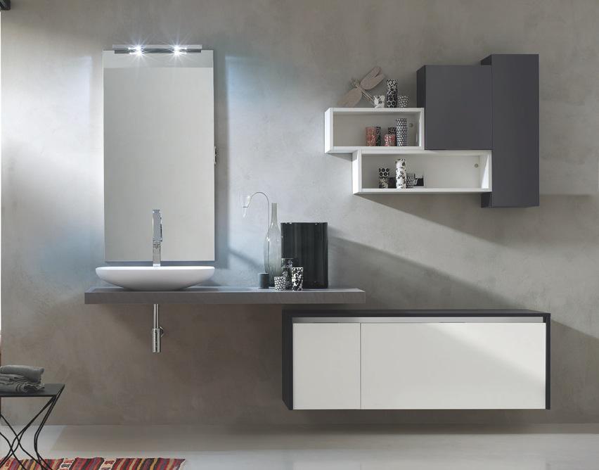 mobile bagno go18 l.200 arredobagno con piano pietra lavabo ... - Pensili Arredo Bagno