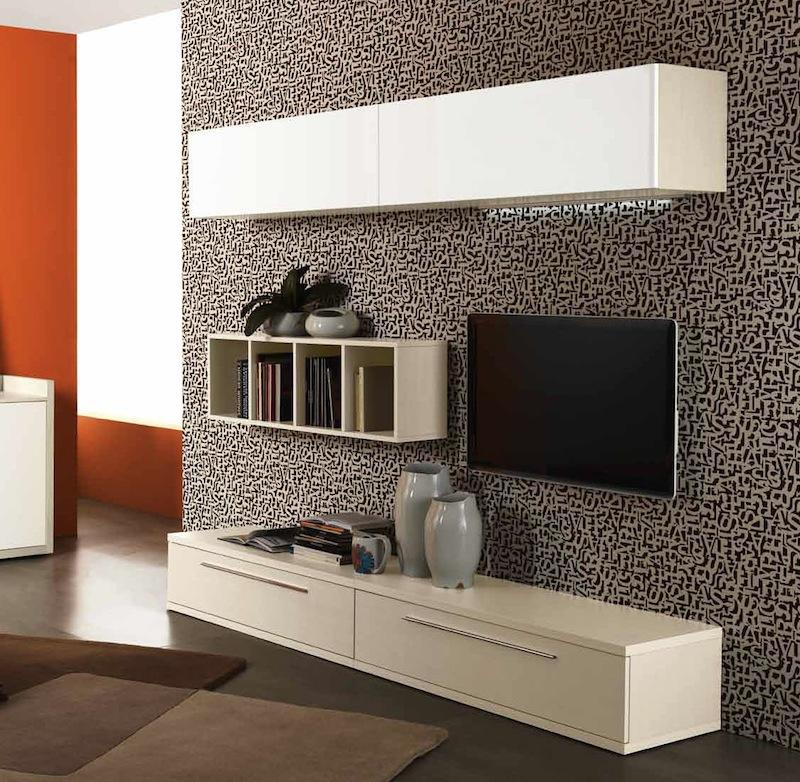 Foto Mobile Soggiorno Design Moderno L 270 Cm Larice E Bianco Lac ...