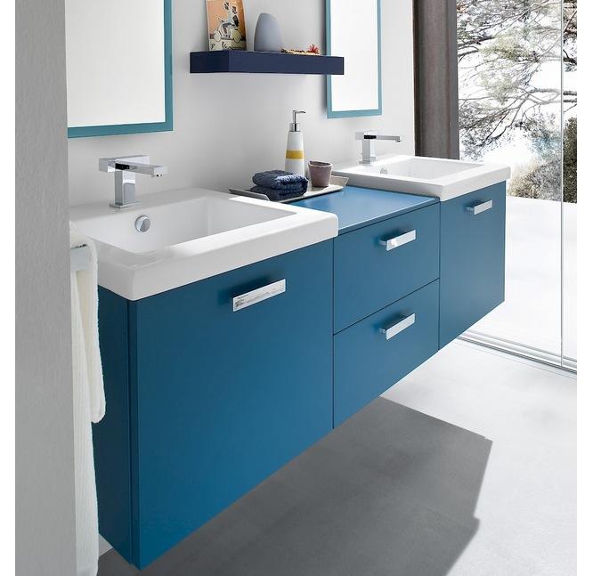 Mobile bagno doppio lavandino vari colori ch21 lui e lei l - Mobile bagno blu ...