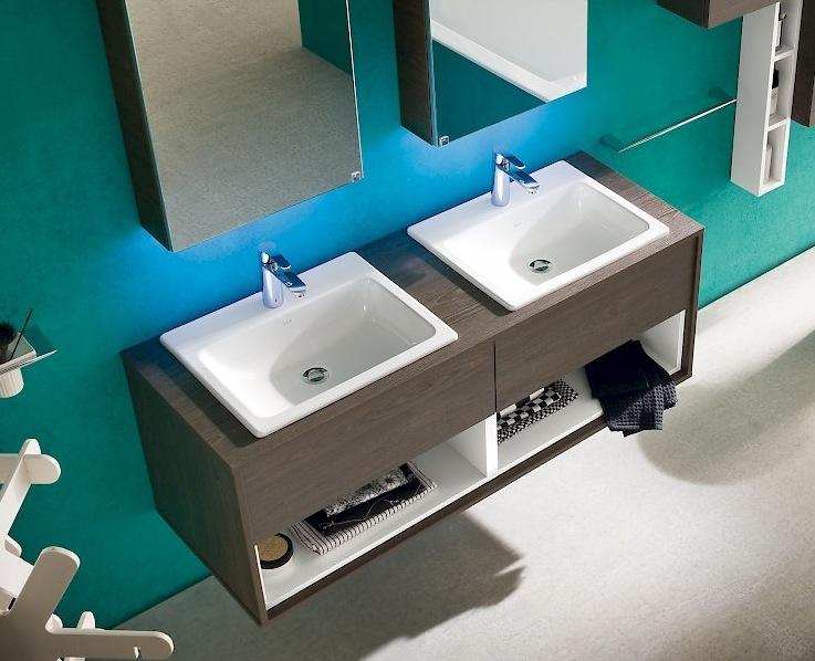 Arredo bagno mobile doppio lavandino b201 32 vari colori laccati e ...