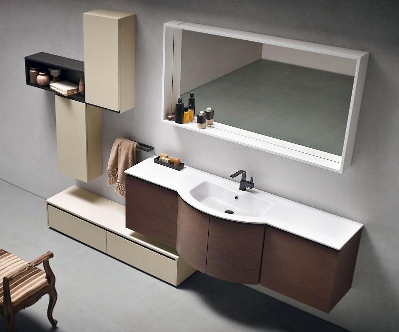 Versus a652 mobile da bagno lavabo curvo l.130,5cm   interno77 ...