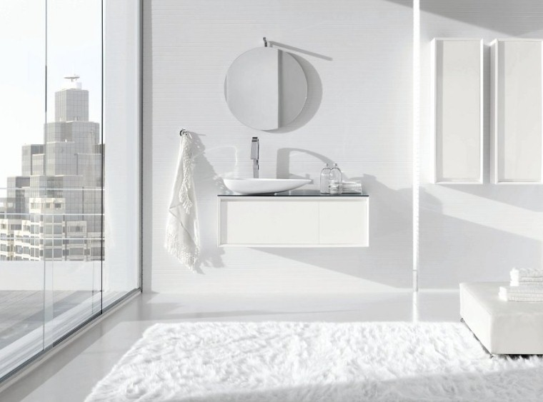 Mobile da bagno moderno sospeso vari colori ar45 bianco for Mobile bagno moderno bianco