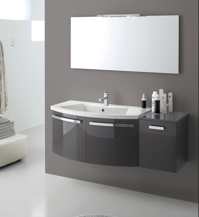 Mobile bagno sospeso curvo moderno in colori legno o for Mobile bagno usato