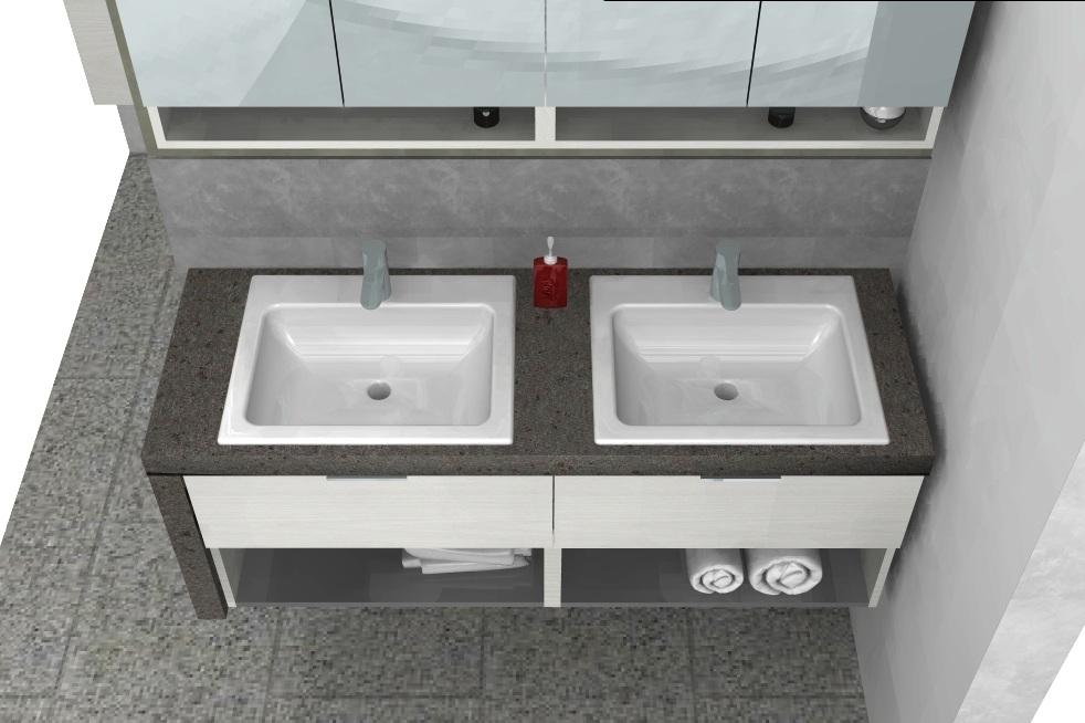 Mobile da bagno b201 77 con piano sospeso doppio - Bagno doppio lavandino ...