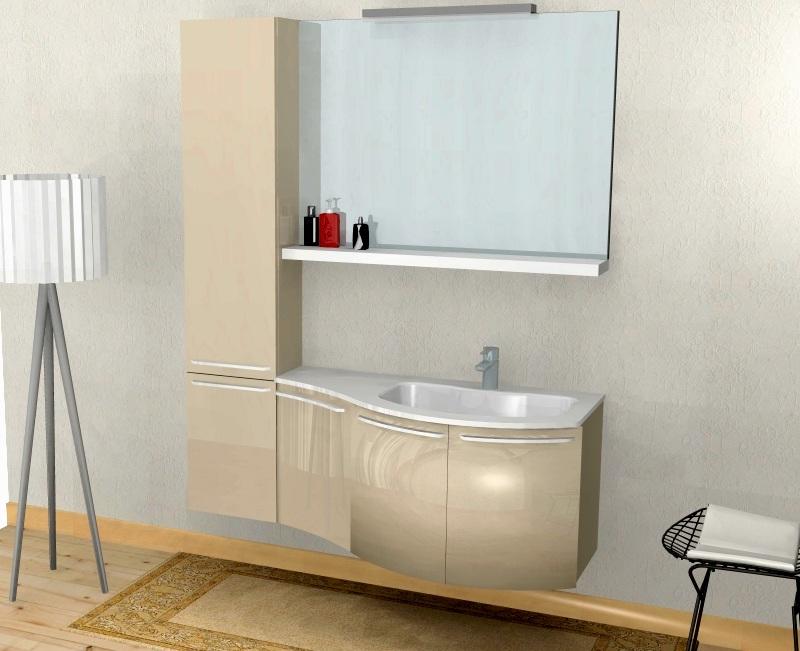 Mobili Da Bagno Bianco Lucido : Msa sam tlg set di mobili da bagno lunik bianco lucido