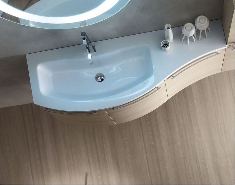Mobile bagno curvo moderno sospeso vari colori top vasca integrata w705 ebay - Mobile bagno curvo ...